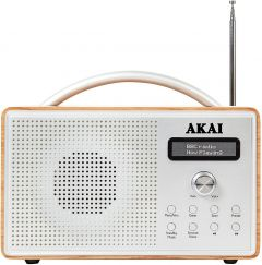 Akai A61018 Portable DAB Radio With LCD Screen, Crystal Clear Speaker - Brown Wood