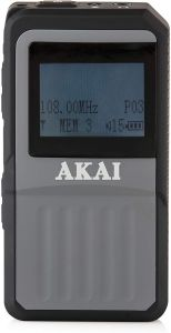 Akai A61027 DAB Portable Pocket Size Radio With Built-In Rechargeable Battery - Black /Grey