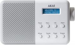 Akai A61041G Portable DAB Radio, Mains And Battery Powered - White