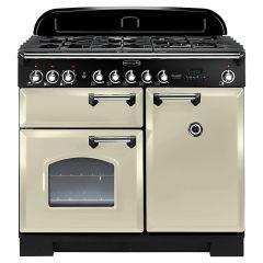 Rangemaster CDL100DFFCR/C Classic Deluxe 100 Dual Fuel Range Cooker, Cream/Chrome