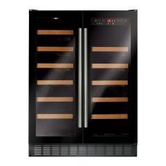 CDA FWC624BL 60cm Double Door Dual Zone Under Counter Wine Cooler