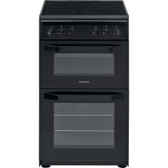 Hotpoint HD5V92KCB 50cm Electric Twin Cavity Single Oven Cooker - Black