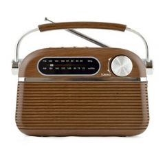 Lloytron L-RD35 Rechargeable Portable Bluetooth Am/Fm Radio - Wood Effect