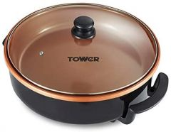 Tower T14038COP 1500W Multi Pan with Glass Lid - Copper