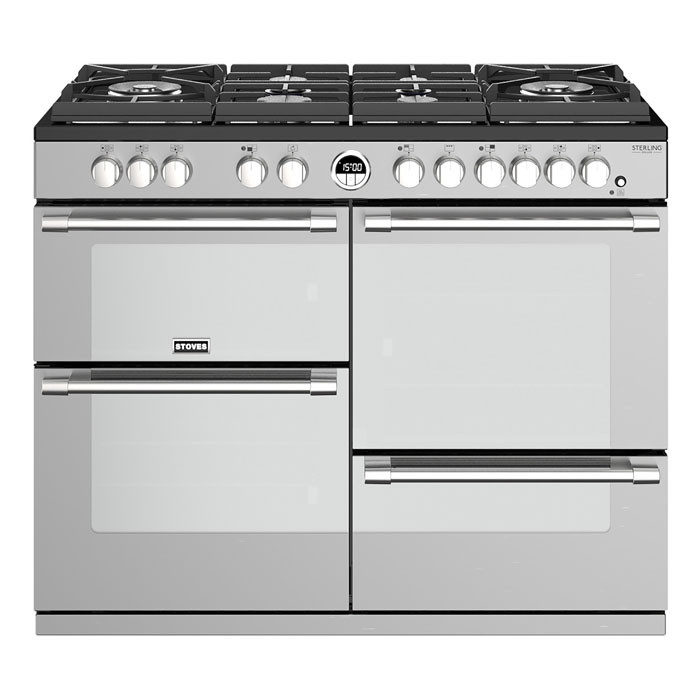 Stoves Sterling Deluxe STRDXS1100DFGSS 110cm Dual Fuel Range Cooker With A Gas-Through-Glass Hob - Stainless Steel