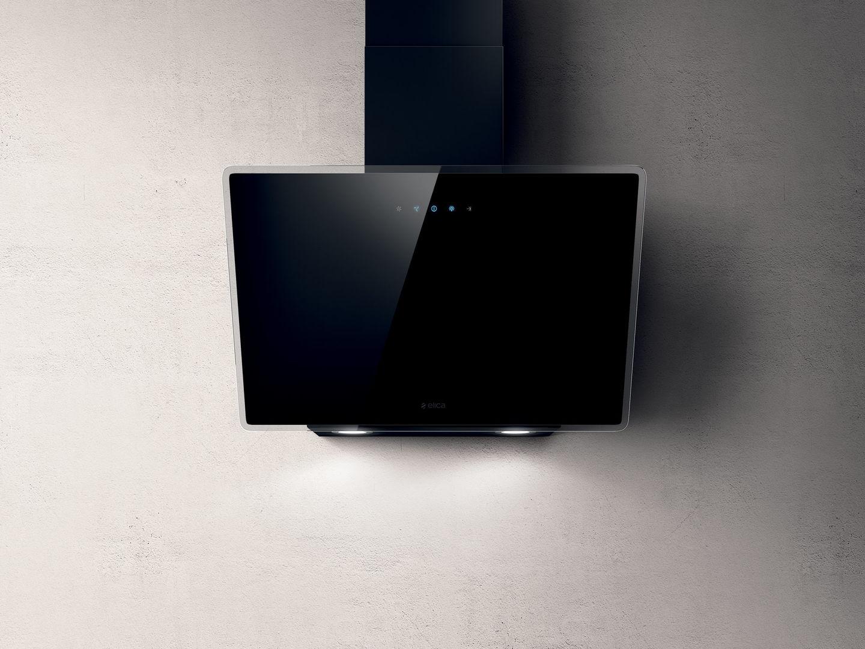 Elica SHIRE90BL Shire 90cm Black Glass Wall Mounted Hood-Black