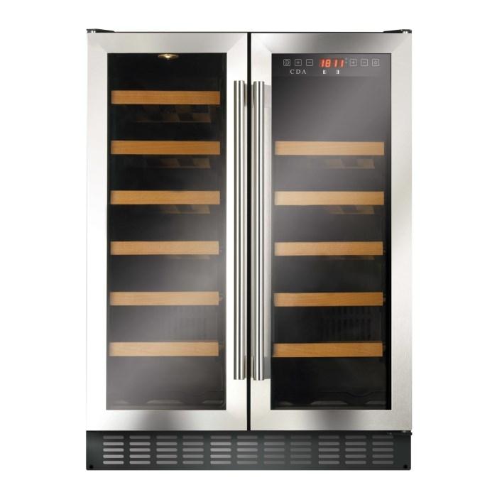 CDA FWC624SS 60cm Double Door Dual Zone Under Counter Wine Cooler Stainless Steel