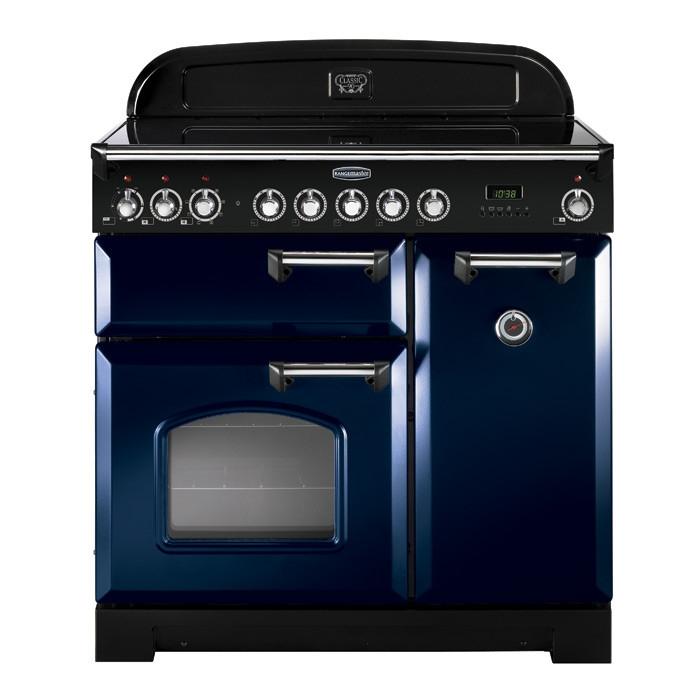 Rangemaster CDL90ECRB/C 90cm Classic Deluxe Electric Ceramic Regal Blue Range Cooker